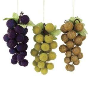 Sugared Fruit Decorative Large Beaded Gold Grapes Christmas Ornament 9