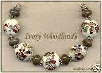 Ivory Woodlands Lampwork Glass Beads Handmade Bead Set