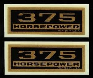 Chevrolet 375 Horsepower Valve Cover Decal Set