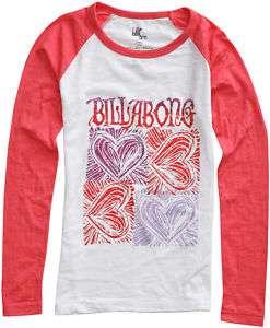 Billabong Love Is LS Tee New Girls Heart Red White Purple