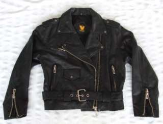 80s BLACK LEATHER MOTORCYCLE BIKER JACKET VIRGINIA SLIMS SZ S