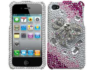 PINK SILVER BOW DIAMOND 3D BLING CRYSTAL FACEPLATE CASE COVER APPLE