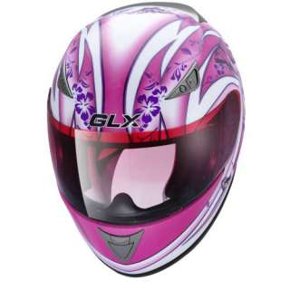 GLX G 313 FULL FACE PINK BUTTERFLY MOTORCYCLE HELMET L