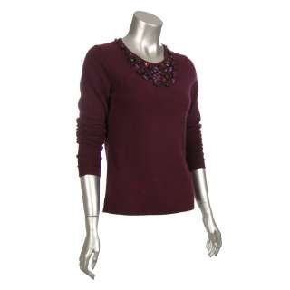 Sutton Studio Womens 100% Cashmere Jewelled Sweater