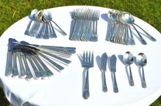Antique American WM Rogers Silverplate Cutlery Set 53 Pcs