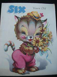 Vintage Greeting Card Six years Old Childs Birthday Card   Kitten