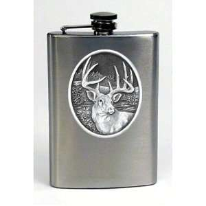 Whitetail Deer Buck Pewter Emblem Travel   Hip Flask Stainless Steel 8