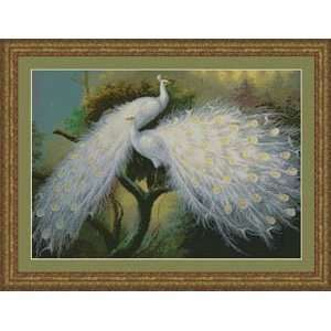 White Peacocks   Cross Stitch Pattern: Home & Kitchen