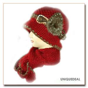 FASHION WINTER KNIT SCARF HAT SET SKI BEANIE /RED Q135