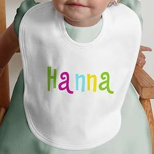 Personalized Baby Bib   Hot Pastel Design: Baby