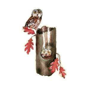 Bovano Enamel Copper Wall Art Saw Whet Owls In Tree
