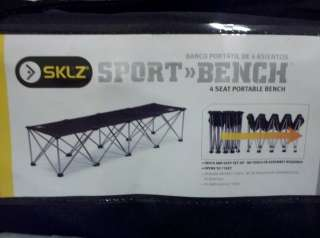 SKLZ Portable Folding 4 Seat Sports Bench with carrying case.