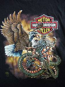 Vtg 1980s Harley Davidson Motorcycle Soft 50/50 T Dragon Shirt Mens M