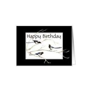 Happy Birthday, Magpie Family , Bird Collection Card