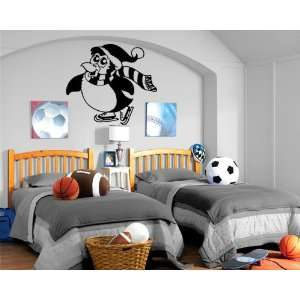 Cartoon Penguin Ice Skater Kids Room Nursery Decor Wall