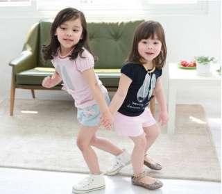 Pink Girls Ballet Shoes Short Top T shirt Sz 2 3 4 5 6