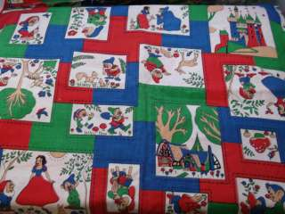 RARE~Vintage Walt Disney~Snow White Fabric~Quilting~Dwarfs~NEW~60s 70s