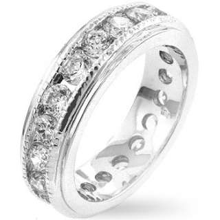 Silver tone Rhodium Plated Band Ring w/clear CZs 5.4g