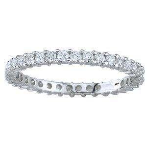 Round Cut Diamond 14Kt White Gold Eternity Engagement Ring Band