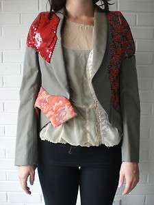 COMME DES GARCONS SS10 Khaki & Brocade Blazer S NEW