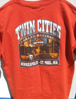vtg HARLEY DAVIDSON TWIN CITIES Orange Tee 2XL