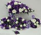 pc Purple white lavender roses daisies silk bridal bouquet and