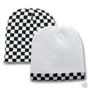 Black White Checkered Flag Beanie Knit Cap Skully Hat