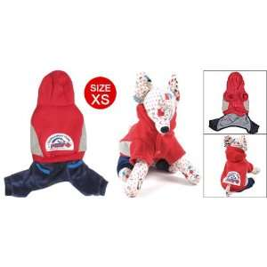 XS Puppy Dog Hoodie Jump Suit Red Blue Clothes Apparel