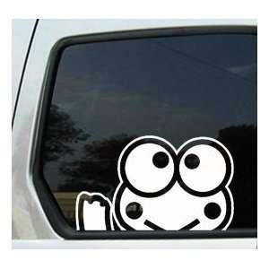 Keroppi Frog Waving   6 WHITE Vinyl Decal Window Sticker Automotive