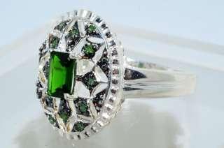 53CT EMERALD CUT CHROMIUM DIOPSIDE & GREEN DIAMOND RING SIZE 10.25