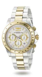 INVICTA MENS TWO TONE GOLD WHITE DIAL SPEEDWAY CHRONOGRAPH WATCH 9212