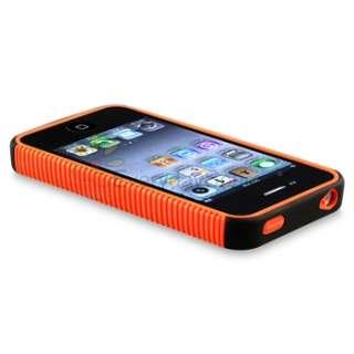 Hybrid Orange Skin / Black Hard Case Cover for iPhone 4 G 4S Sprint