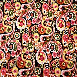 FabriQuilt Cotton Fabric Lovely Paisley in Pink Yellow Green & Black