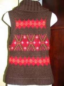80 ABERCROMBIE & FITCH Brown/Red/Orange Sweater Vest S