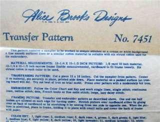 Vintage Alice Brooks Wedding Sampler Transfer Pattern