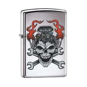 Zippo Custom Lighter   Skull Motor Head High Polish Chrome