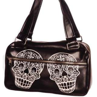 Vinyl Sugar Skull Day Bag with Tattoo Inspired Artwork Clothing