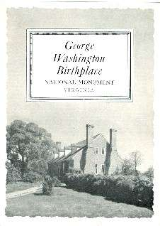 1949 Map GEORGE WASHINGTON BIRTHPLACE National Monument