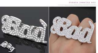 Swarovski Crystal BAD Double Ring Glamorous Hip Hop Fashion Ring Size