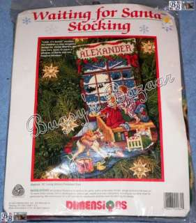Dimensions WAITING FOR SANTA Needlepoint Stocking Christmas Kit