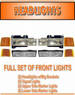 94 95 96 97 98 CHEVY PU Pickup TRUCK HEADLIGHTS & PARKING LIGHTS Full