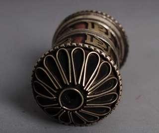 Rokuji Mantra Copper Prayer tube Built Sutra Tibet Buddhist Pendant
