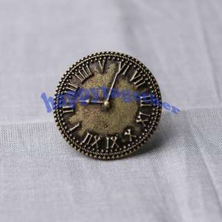 New Vintage Watch Shape Style Round Circle Finger Ring Adjustable