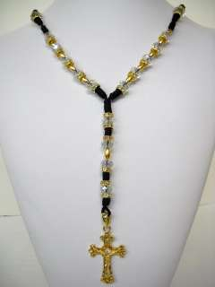 new 14k GOLD PLATED & crystal ROSARIO ROSARY NECKLACE