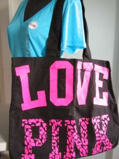VICTORIAS SECRET PINK LOVE TOTE CANVAS LEOPARD PRINT CHEETAH BLUE TEE