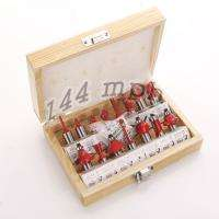 15PC 1/2 Professional Shank Tungsten Carbide Router Bit Set Wood Case