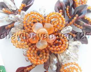 Amazing Carnelian&Red Stone Flower&Crystal Necklace