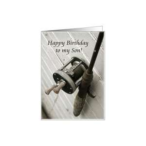 Happy Birthday to my Son Fishing Rod and Reel Card: Toys & Games