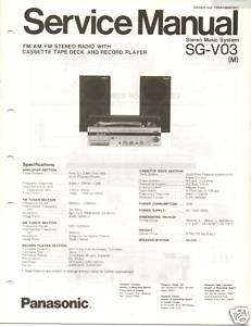 Original Service Manual Panasonic SG V03 System