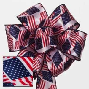 American Flags Unfurling Wired Ribbon Case Pack 24